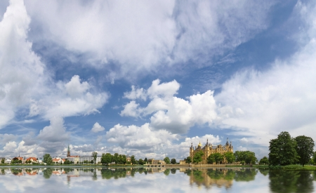 Panoramic view of Schwerin old town with castle  Schweriner Schloss  and lake, Germany