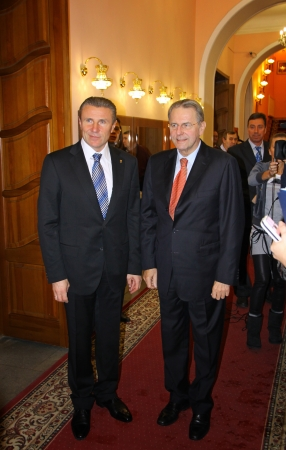 KYIV, UKRAINE - DECEMBER 17, 2010: President of Ukraine Olympic Committee Serhii Bubka (L) and President of IOC Jacques Rogge gives an interview during Rogges official visit to Ukraine Editorial