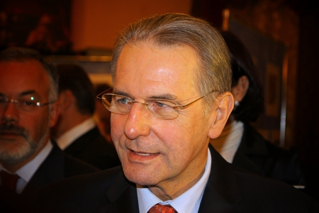 KYIV, UKRAINE - DECEMBER 17, 2010: Current President of the International Olympic Committee (IOC) Jacques Rogge gives an interview during his official visit to Ukraine on December 17, 2010 in Kyiv