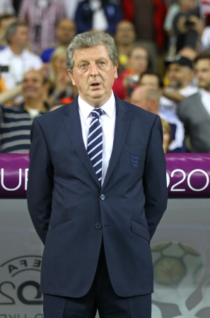 uefa: KYIV, UKRAINE - JUNE 15, 2012: Head coach of England national football team Roy Hodgson looks on during UEFA EURO 2012 game against Sweden on June 15, 2012 in Kyiv, Ukraine