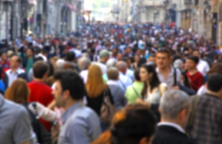 crowded: Blurred crowd of unrecognizable people at the Istiklal street in Istanbul, Turkey