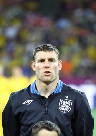 KYIV, UKRAINE - JUNE 15, 2012: James Milner of England sings the national anthem before UEFA EURO 2012 game against Sweden on June 15, 2012 in Kyiv, Ukraine