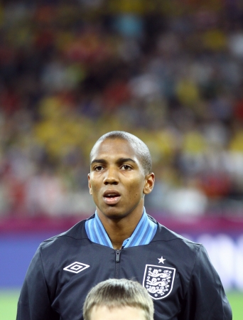 KYIV, UKRAINE - JUNE 15, 2012: Ashley Young of England sings the national anthem before UEFA EURO 2012 game against Sweden on June 15, 2012 in Kyiv, Ukraine Stock Photo - 16224270