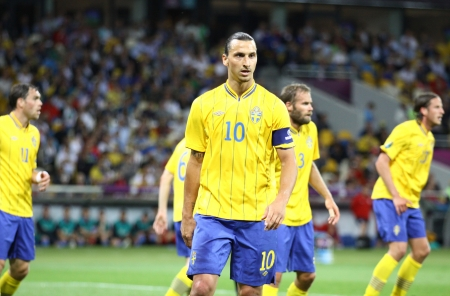 KYIV, UKRAINE - JUNE 15, 2012: Zlatan Ibrahimovic of Sweden looks on during UEFA UERO 2012 game against England on June 15, 2012 in Kyiv, Ukraine