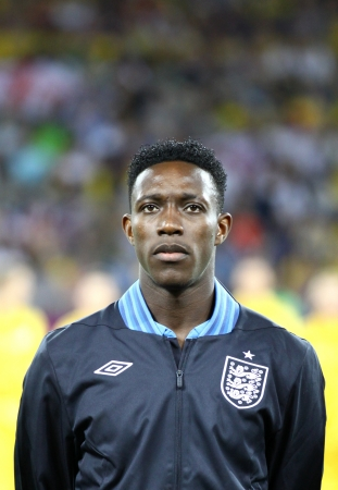 anthem: KYIV, UKRAINE - JUNE 15, 2012: Danny Welbeck of England sings the national anthem before UEFA EURO 2012 game against Sweden on June 15, 2012 in Kyiv, Ukraine