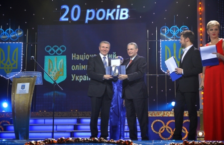 committee: KYIV, UKRAINE - DECEMBER 17, 2010: President of Ukraine Olympic Committee Serhiy Bubka (L) and President of International Olympic Committee Jacques Rogge during ceremony of Rogge Editorial