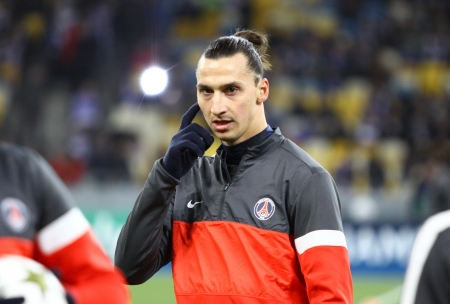 KYIV, UKRAINE - NOVEMBER 21, 2012: Zlatan Ibrahimovic of FC Paris Saint-Germain looks on during training session before UEFA Champions League game against FC Dynamo Kyiv on November 21, 2012 in Kyiv, Ukraine