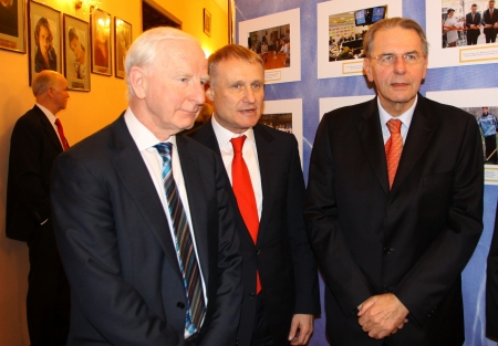 KYIV, UKRAINE - DECEMBER 17, 2010: President of European Olympic Committee Patrick Joseph Hickey (L), President of Football Federation of Ukraine Grygorii Surkis (C) and President of International Olympic Committee Jacques Rogge give an interview