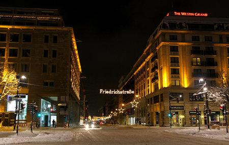 frederick street: BERLIN; GERMANY - DECEMBER 28; 2010: Christmas illumination of Friedrichstrasse street in Berlin; Germany