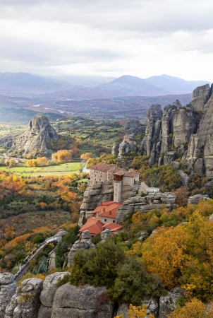 Meteora Rocks and Monasteries in Trikala region, Greece photo