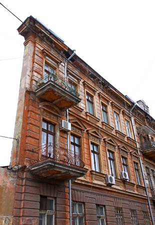 Famous One-Wall building in Odessa, Ukraine  Also known as Flat House and Devil s House  Due to lack of funds for the construction of the side wall, this building took a triangular form Stock Photo - 17228190