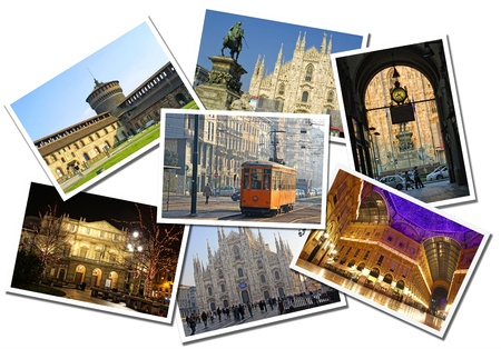 Collage made of postcards of the Milan city, Italy. Isolated on white background