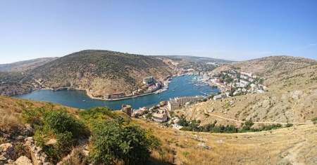 birdeye: Panoramic bird-eye view of Balaklava bay, Crimea, Ukraine
