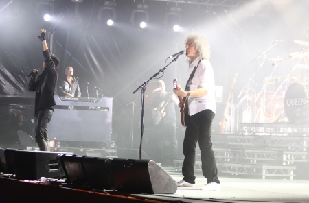 onstage: KYIV, UKRAINE - JUNE 30, 2012: Queen with Adam Lambert perform onstage during charity Anti-AIDS concert at the Independence Square on June 30, 2012 in Kyiv, Ukraine