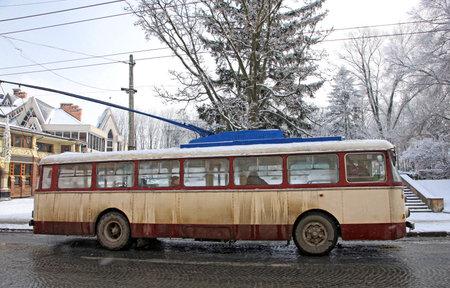 chernivtsi: Vintage trolleybus on the street of Chernivtsi city, Ukraine