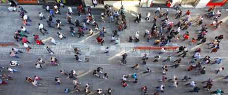 view to outside: Top view of crowd of unrecognizable people at the Istiklal street in Istanbul, Turkey Editorial