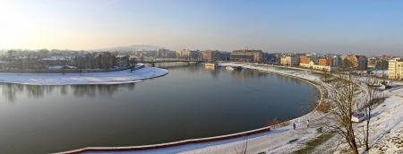 Panoramic view of Krakow city and Vistula river, Poland photo