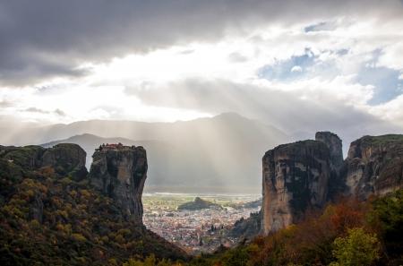 kalampaka: Meteora Rocks with Kalampaka town on the background, Trikala region, Greece
