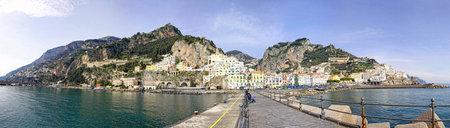 Panoramic view of Amalfi city, Campania province, Italy