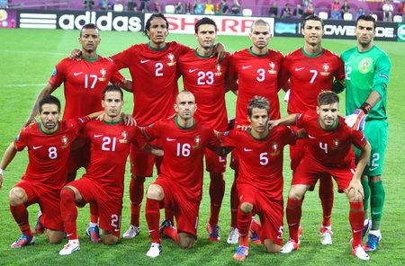 rui: LVIV, UKRAINE - JUNE 9, 2012: Portugal national football team pose for a group photo before UEFA EURO 2012 game against Germany on June 9, 2012 in Lviv, Ukraine