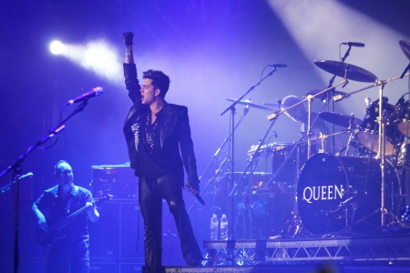 KYIV, UKRAINE - JUNE 30, 2012: Queen with Adam Lambert perform onstage during charity Anti-AIDS concert at the Independence Square on June 30, 2012 in Kyiv, Ukraine