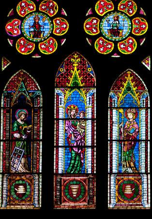 freiburg: Stained glass windows of Freiburg Minster in Freiburg im Breisgau city, Germany Editorial