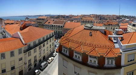 birdeye: Panoramic bird-eye view of Lisbon city, Portugal