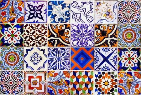 Close up traditional Lisbon ceramic tiles background photo