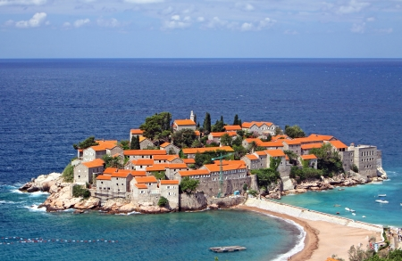 Sveti Stefan  St  Stephen  island in Adriatic sea, Montenegro photo