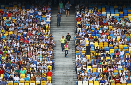 KYIV, UKRAINE - JULY 28, 2013  Tribunes of NSC Olympic stadium during Ukraine Championship game between Dynamo Kyiv and FC Sevastopol on July 28, 2013 in Kyiv, Ukraine