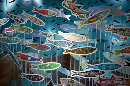 LISBON - JUNE 12, 2013  Stands with painted sardines at Millenium BCP museum during Lisbon Festival  Festas de Lisboa  on June 12, 2013 in Lisbon, Portugal