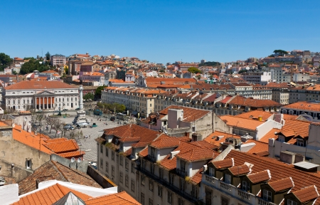 Birds-eye view of  Lisbon old city, Portugal photo