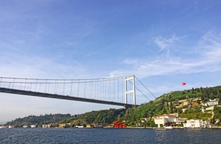 fatih: Fatih Sultan Mehmet Bridge  also called the Second Bosphorus Bridge  over the Bosphorus strait in Istanbul, Turkey  Built in 1988 and connecting Europe and Asia