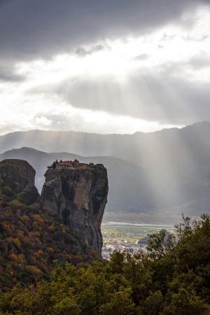 kalampaka: Meteora Rocks with Kalampaka town on the background, Greece