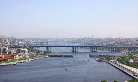 inlet bay: Panoramic view of Golden Horn inlet in Istanbul city, Turkey Stock Photo