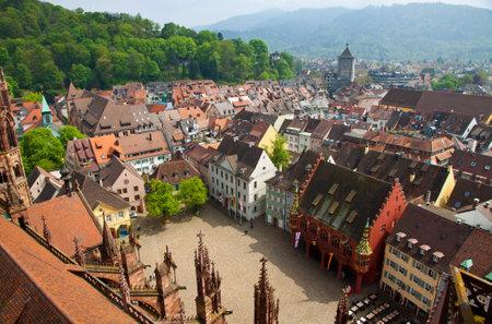 freiburg: Bird eye view of buildings in Freiburg im Breisgau city, Baden-Wuerttemberg state, Germany