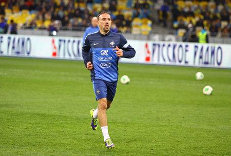 kyiv: KYIV, UKRAINE - NOVEMBER 15, 2013  Franck Ribery of France trains before FIFA World Cup 2014 qualifier game against Ukraine on November 15, 2013 in Kyiv, Ukraine