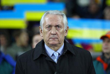 mikhail: KYIV, UKRAINE - NOVEMBER 15, 2013  Head coach of Ukraine National football team Mikhail Fomenko looks on during FIFA World Cup 2014 qualifier game against France on November 15, 2013 in Kyiv, Ukraine Editorial