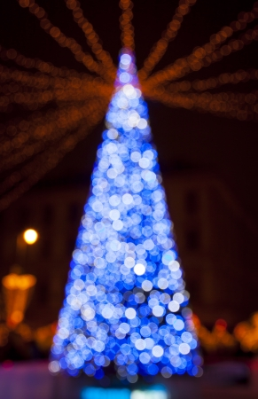 New Years tree made from blue bokeh lights  photo