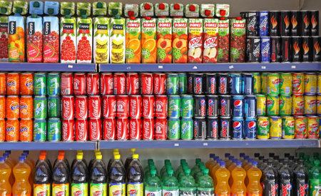 ISTANBUL - NOVEMBER 30, 2011  Bottles of soft drinks on a market shelves on November 30, 2011 in Istanbul, Turkey Editorial