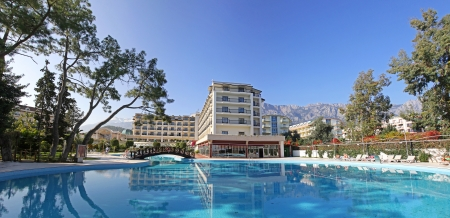 Swimming pool at Mediterranean resort hotel in Turkey