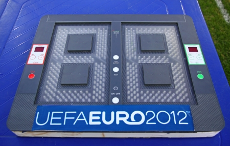 KYIV, UKRAINE - JULY 17, 2011  Football substitutions indicator board  panel  with UEFA EURO 2012 logo