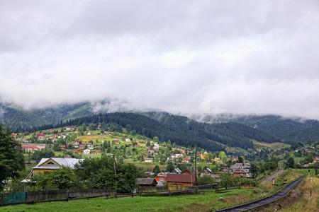vorohta: Rural view of Vorokhta village in Carpathian mountains, Ukraine Stock Photo