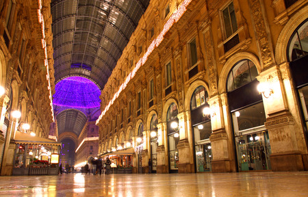 Evening view Galleria Vittorio Emanuele shopping Center in Milan, Italy