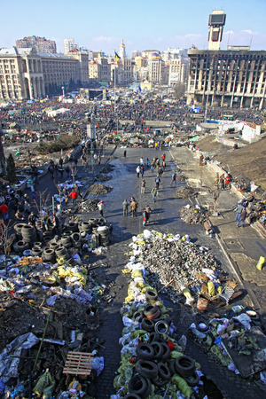 KYIV, UKRAINE - FEBRUARY 21, 2014  Barricades on Institutska street and Maidan Square during anti-government protests in Kyiv