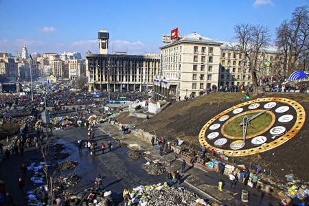 KYIV, UKRAINE - FEBRUARY 21, 2014  Maidan Nezalezhnosti  Independence Square  during anti-government protests  At least 82 people died and more than 700 other got injured in clashes between protestors and Ukrainian security forces