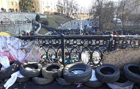 barricades: KYIV, UKRAINE - FEBRUARY 21, 2014  Barricades on Institutska street during anti-government protests in Kyiv Editorial