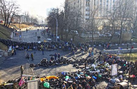 KYIV, UKRAINE - FEBRUARY 21, 2014  Barricades on Institutska street during anti-government protests in Kyiv