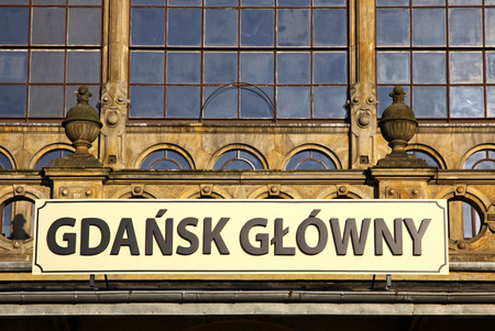 Details of historic building of Railway station in Gdansk, Poland