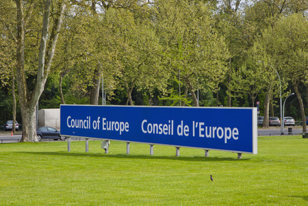 parliamentary: STRASBOURG, FRANCE - MAY 6, 2013  Signboard of Parliamentary Assembly of the Council of Europe  Assembly was founded in 1949, and now is one of the two statutory organs of the Council of Europe
